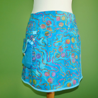 "Adjustable Wrap Skirt 28"" to 40"" Waist with detachable Hip Bag. Blues."
