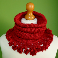 Cowl with Ruffle Crochet Trim in Alpaca Blend  Double Knit Weight Yarn.