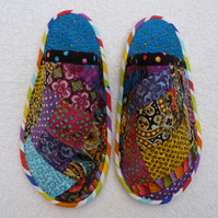 Crazy Patchwork Quilted Slippers with Non-Slip Sole. Womens Size 4