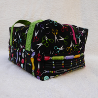 Sewing Notions Craft Bag. Box Bag  Design. Ideal for Smalll Knitting Projects.