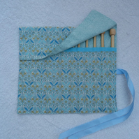 "Roll Up Afghan Crochet Hook Holder with set 12 Bamboo 10"" Crochet Hooks. Blue"
