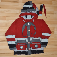 Jacket from Upcycled Jumpers with Buttons Hood Patch Pockets and Neck Ties. Red