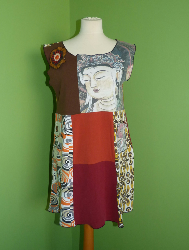 Tunic Top from Up-cycled T-Shirts. Womens Medium to Large. Orange and Brown.