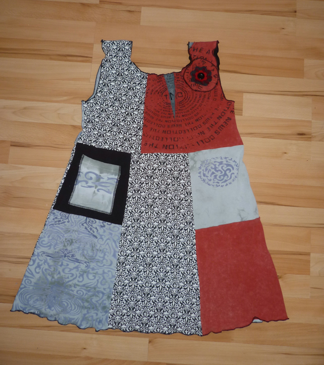 Tunic Top from Up-cycled T-Shirts. Womens Medium to Large. Red And Grey.