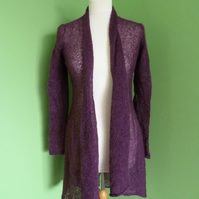 Mohair Flare Top in Grape Colour. Womens approximate size 12-14. Womens cardigan