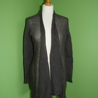 Mohair Flare Top in Charcoal Grey Womens approximate size 12-14. Womens cardigan