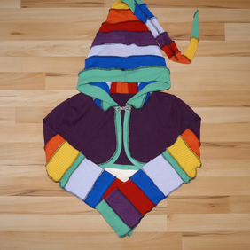 Crop Top with Long Hood and Bell Bottom Sleeves. Rainbow and Purple. Pixie Top.