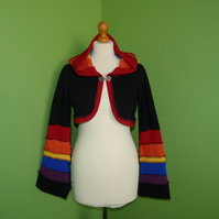 Crop Top with Long Hood and Bell Bottom Sleeves. Rainbow and Black. Pixie Top.