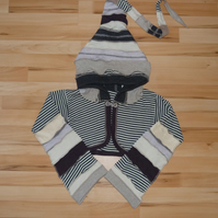 Crop Top with Long Hood and Bell Bottom Sleeves. Beige Stripes. Pixie Top.