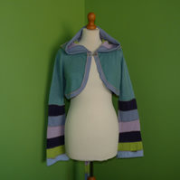 Crop Top with Long Hood and Bell Bottom Sleeves. Sea Green. Pixie Top.