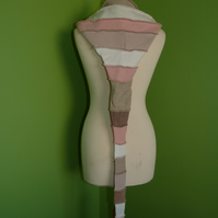 Long Hood with Neck Ties. Upcycled. Pink and Beige.  Faerie Festival Wear.