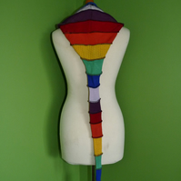 Long Hood with Neck Ties. Upcycled. Rainbow with Blue. Faerie Festival Wear.