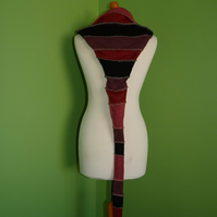 Long Hood with Neck Ties. Upcycled. Burgundy and Black. Faerie Festival Wear.