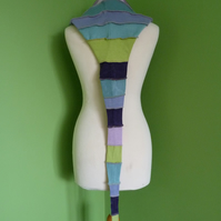 Long Hood with Neck Ties. Upcycled. Blue, Lilac and Green. Faerie Festival Wear.