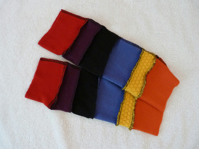 Finger-less Gloves Arm-warmers created from Up-cycled Sweaters.Red.Yellow.Orange