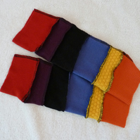 Fingerless Gloves Arm-warmers created from Up-cycled Sweaters.Red.Yellow.Orange