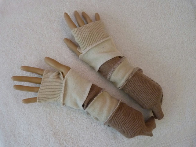 Finger-less Gloves Arm-warmers created from Up-cycled Sweaters.Beige Cream