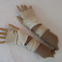 Fingerless Gloves Arm-warmers created from Up-cycled Sweaters.Beige Cream