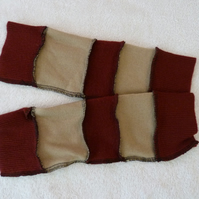 Finger-less Gloves Arm-warmers created from Up-cycled Sweaters.Beige Burgundy