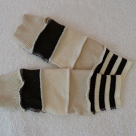 Finger-less Gloves Arm-warmers created from Up-cycled Sweaters. Cream Brown