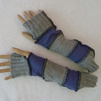 Finger-less Gloves Arm-warmers created from Up-cycled Sweaters.Blue Grey