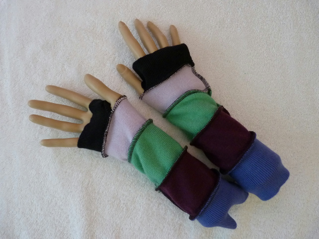 Finger-less Gloves Arm-warmers created from Up-cycled Sweaters. Green.Purple.