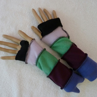 Fingerless Gloves Arm-warmers created from Up-cycled Sweaters. Green.Purple.