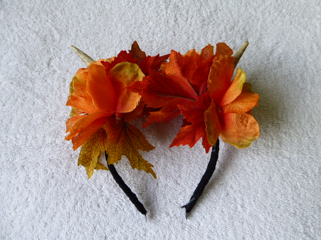 Deer Antler and Flower Headband. Festival Faerie Wear. Autumnal Colours