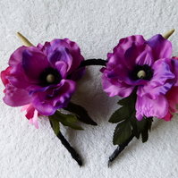 Deer Antler and Flower Headband. Festival Faerie Wear. Purple Flowers