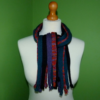 Multicoloured Knit Short Scarf with Knotted Ends