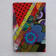A5 Lined Notebook with Quilted Crazy  Patchwork Removeable Cover. Dark Colours.