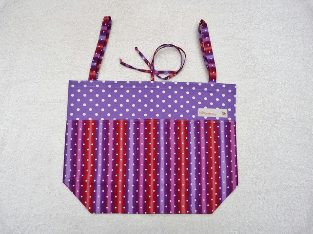 Folding Tote Bag in Stripe and Polka Dot Print Fabric. Purples and Red