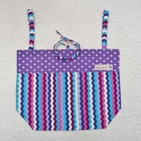 Folding Tote Bag in Wiggly Line and Polka Dot Print Fabric. Purples and Blue