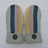 Mittens Created from Up-cycled Wool Jumpers. Fully Lined. Purple  Button