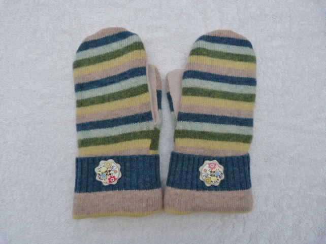 Mittens Created from Up-cycled Wool Jumpers. Fully Lined. Wooden Button on White