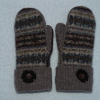 Mittens Created from Up-cycled Wool Jumpers. Fully Lined. Fair Isle. Thumb Print