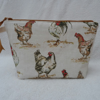 Chicken Print Project Holder. Lined Purse. Zipped Holdall. Hen Print Fabric.