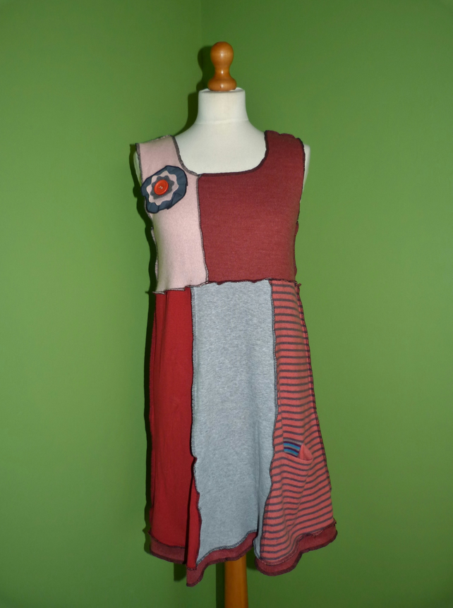 Tunic Top from Up-cycled Jumpers. Womens Small to Medium. Pinks and Grey