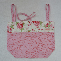 Fold Up Tote Bag in Rose and Polka Dot Print Fabric. Pinks