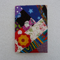 Notebook. A5 size. Lined Notepad with Quilted Crazy Patchwork Cover. Orange