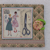 Sewing Needle Case with Sewing Pattern Panel. Green