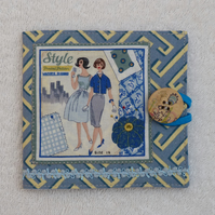 Sewing Needle Case with Sewing Pattern Panel. Blue and Yellow.