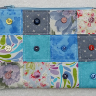 Purse with Button Embellishment. Zipped and Lined. Pieced Patchwork . Blues.