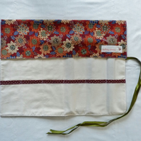 Knitting Needle Roll In Patchwork Print Cotton with 3 Pairs Bamboo Needles.