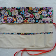 Knitting Needle Roll In Skull Print Cotton with 3 Pairs Bamboo Needles.