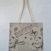 Bag Created from Script Print Cotton Fabric. Fully Lined.