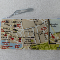 London Map Print Zipped Pencil Case. Purse. Fully Lined with Ribbon  Zip Pull
