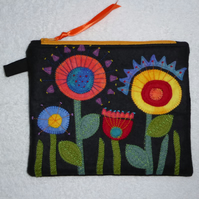 Felt Flower Purse. Applique Flowers on a Zipped Purse. Orange.