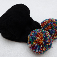 Black Skinny Tube Knit Scarf with Rainbow PomPoms