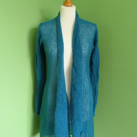 Mohair Cardigan in Petrol Blue Colour. Womens approx size 12-14. Flare Top